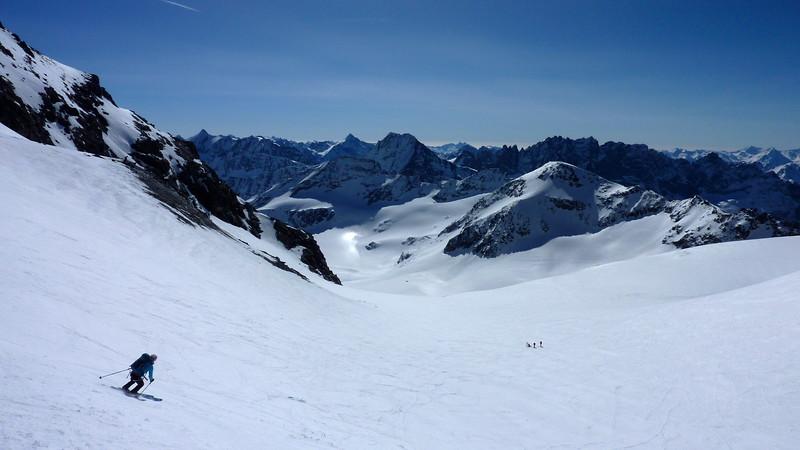Julie descends from the Col du Sanadon 3504m and on to the Glacier du Mont Durand