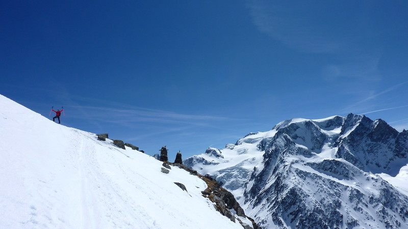 Nathan arrives at the Cabane de Valsorey 3030m. Shame about the view...