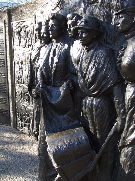 The Kate Sheppard National Memorial sculpted by Margriet Windhausen. Unveiled on 19 September 1993 to commemorate New Zealand being the first self-governing country in the world to grant women the right to vote.