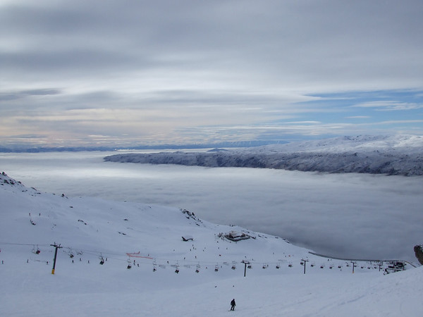Skiing into a sea of cloud.
