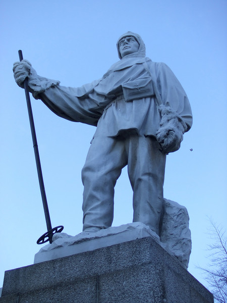 The Antarctic explorer, Robert Falcon Scott, sculpted from Carrara marble by his wife Kathleen in 1917.