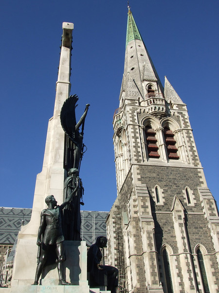 Next to the Cathedral, the Citizens' War Memorial sculpted by William Trethewey (1937).