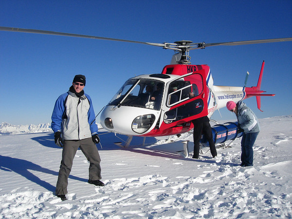 Our chopper landed on top of a glacier in the middle of a remote mountain range.