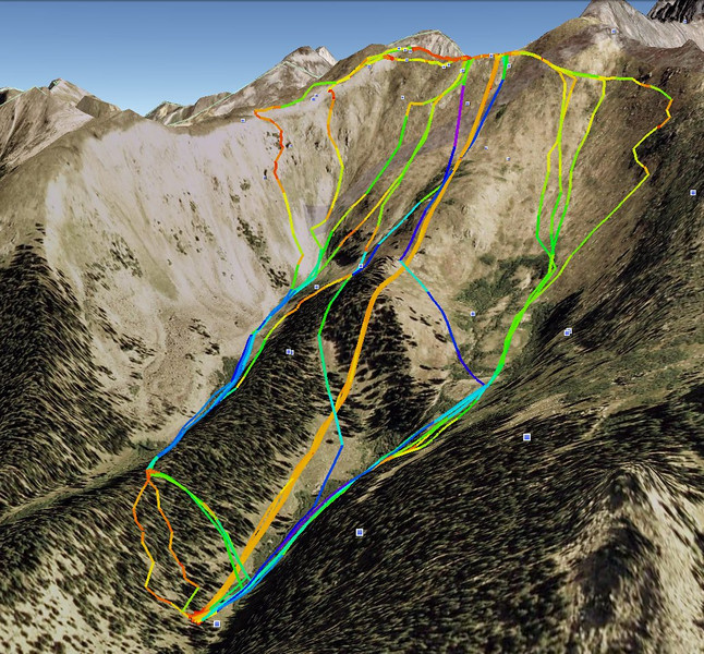 A Basin ski tracks - Google Earth 3