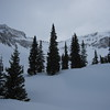 Our first look at Silver Basin.  We've never seen it in the winter time.  Right now a small storm blows in with some snow.