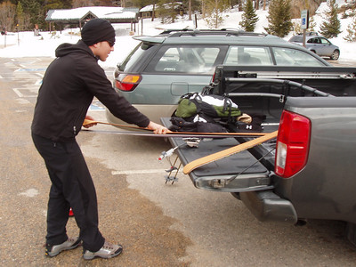 Trent putting his skins on his skis on Sunday morning.