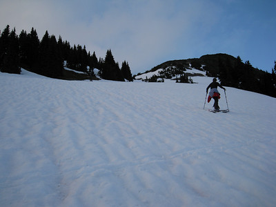 We decided to skin up for an after dinner ski on the first night.  Martina heading up.