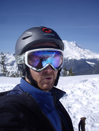 Self portrait with Rainier in the background.