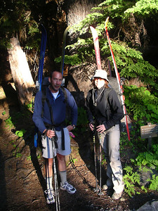 Here we are, just like last year! Doc and I at the trailhead. 6 AM. Bright sun, but cold out.
