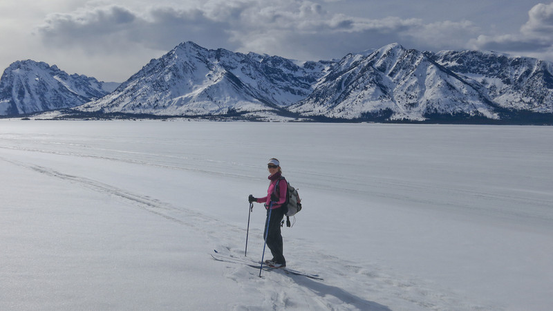 Cross Country skiing along the Coulter Bay pennisula on Jackson Lake.
