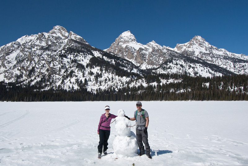 Someone built a snow man on Taggart Lake.