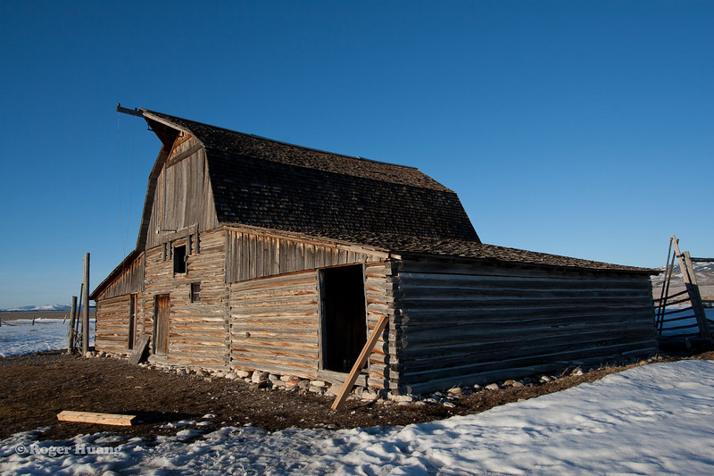 Moulton Barn at sunset, located on Mormon Row, which was a early Mormon settlement.
