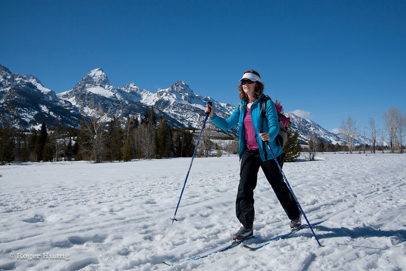 XC skiing along the Teton Range.