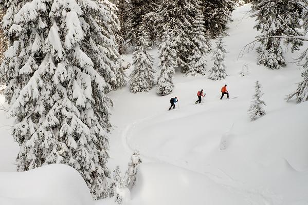 Zig-zagging through winter wonderland, Toggenburg, Swiss alps