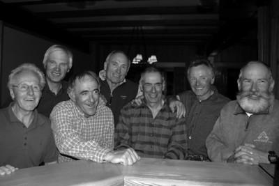 Bugaboos Nostalgia Guides. Front: Frank Stark,Rudi Gertsch,Peter Schlunegger, Kobi Wyss. Back: Sepp Renner, Bob Geber, Ernst Buhler