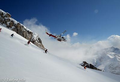 Bugaboos Helicopter over ski group. April 2011