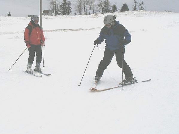 Tom Susko gives Patty some tips on how to do a good wedge. It is nice having a lot of ski instructors as friends.