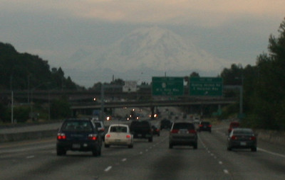 Leaving Seattle, destination in view Mt. Rainier.