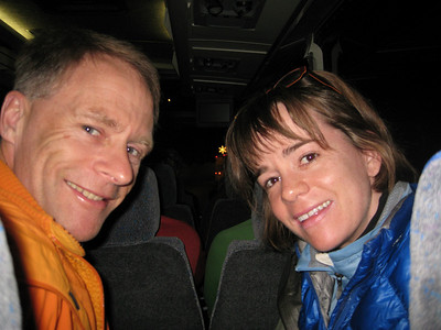 Randy and I on the bus.  Starbucks was closed, but I did get some coffee, thank goodness.
