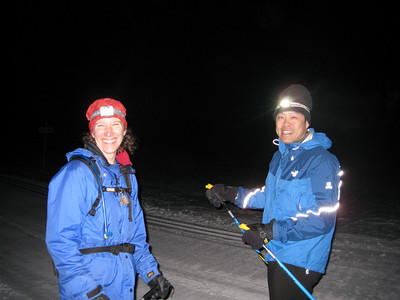 Night skiing with headlamps with Pam and Larry to see the  STARS!