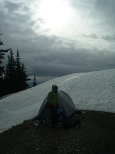 We decided to camp on rock, not snow, and in a sheltered spot. This is right on the Obstruction Point road! We moved the next day to a spot with a better view.   It was a windy windy night.