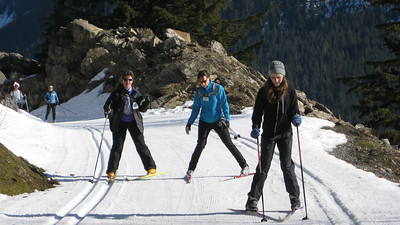 Stefanie having a skate ski lesson too! Great day for it, although it's fast and icy.