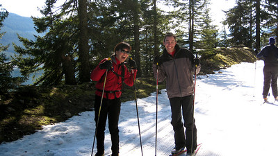 Heather and Ben out for a skate ski lesson.