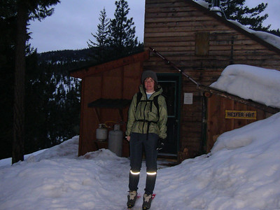 Skiing in Winthrop, Rendevous trails, March 2007. Started about 4PM, made  it up to the Heifer Hut for sunset.