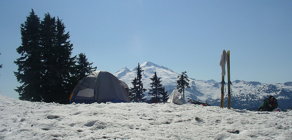 Here is our sweet little campsite with a view. We stopped here on the first day, set up camp, then hiked up for a little bit of skiing on the slopes above.