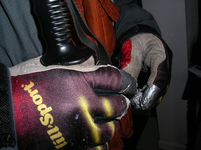 Duct tape on all the fingers ~ buy some new gloves Scott!