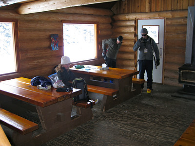 Break at the hut. Nice, but always so cold outside though!