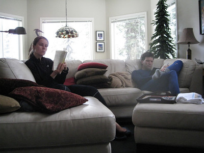 It was a very relaxing trip. Coffee and books in  the morning! Although Scott had already skied some by this point.