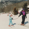 Learning to ski, VT 1992. Casey & mom.