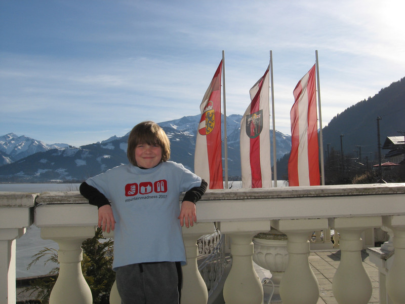 On the balcony of the Grand Hotel in Zell am Zee.