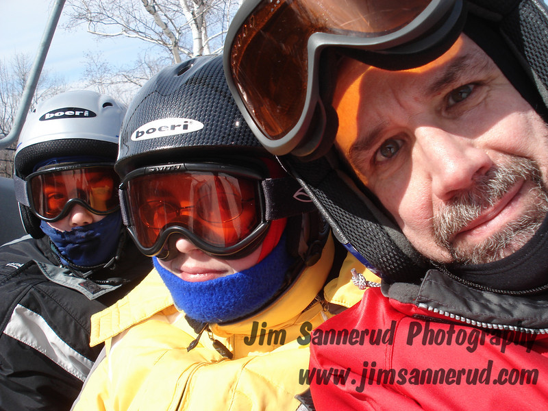 Self portrait with kids on chairlift, Windham, NY.