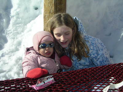 Corri and Emma. Cool shades, little girl!