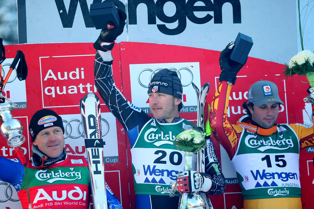 Bode Miller's winning time was almost a second faster then the runner up swiss skiier Didier Cuche. Miller's flying run brought him his long sought for 27th win, equaling the american Phil Mahre's record mark as well as winning his second Lauberhorn race in two years, a feat matched by few others.