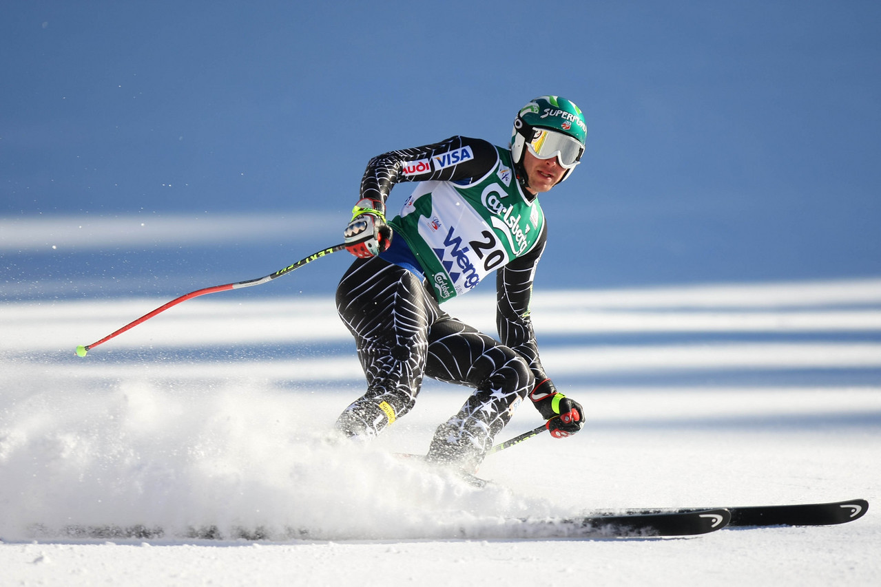 Bode Miller flies into the finish at the 78th Lauberhornrennen in Wengen, Switzerland for a resounding 27th win, equaling the american Phil Mahre's record mark as well as winning his second Lauberhorn race in two years, a feat matched by few others
