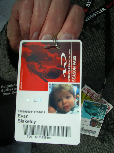 OH this is too cute. Evan got his very first season's pass to Whistler. Corri got one too!