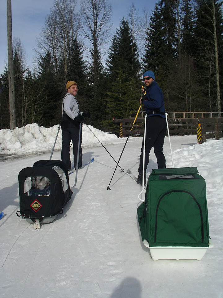 The dads, taking out the tykes for a ski.