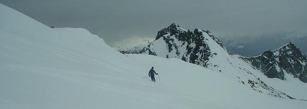 I get a shot of Scott skiing the powder before I go.