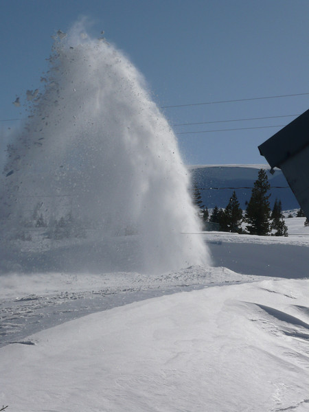 3/28/2011 - The town's massive snow thrower has arrived and is clearing one lane of our road. Stand back, those ice chunks in the plume could kill you.