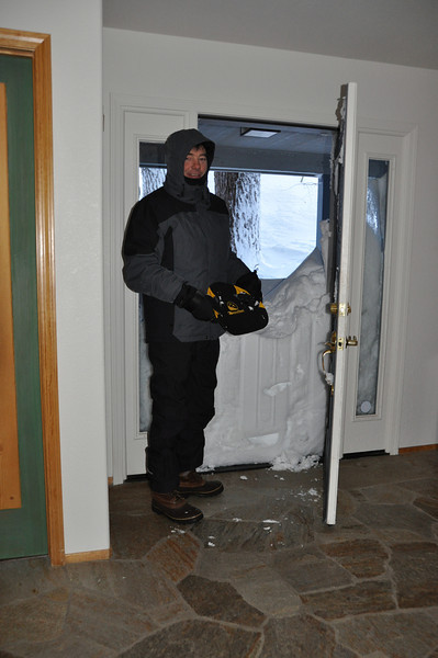 03/28/2011 - Getting Ready To Shovel Front Door/Deck Snow - Holding The Snow Claw Backcountry Shovel  To Try It Out (didn't work so well)