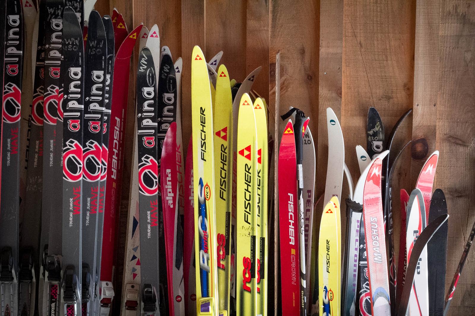 Lots of kids skis