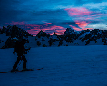 Sunrise on the Haute Route Ski Tour, Switzerland.