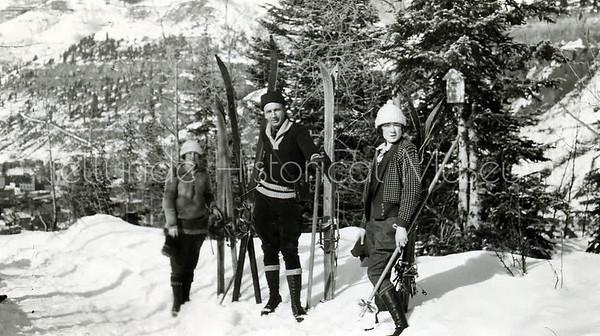 2005-01-305: Frank B. Wilson & Two Intrepid Skiers On Wooden Skies c. 1920