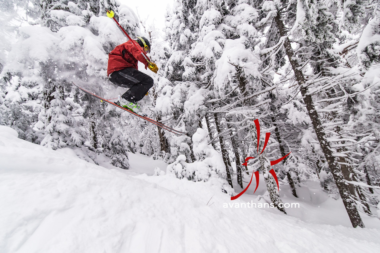 "photo by Hans von Briesen ""Evan Theurer seems to be more comfortable in the air.  Skier: Evan Theurer"""