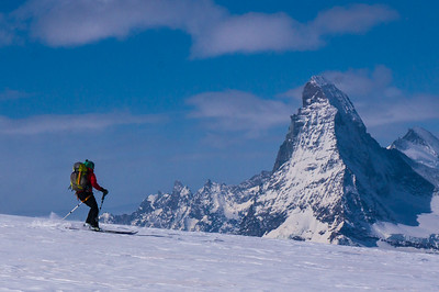 Skiing near Saas Fee, Switzerland, with The Matterhorn as a backdrop
