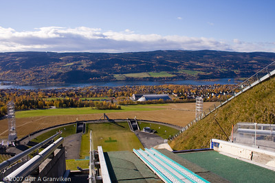 The view from the Olympic normal hill in Lysgårdsbakkene, Lillehammer. Beneath the skis is Håkonshall, one of the two ice hockey arenas during the Olympics.