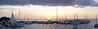 Thirteen skipjacks docked at sunset the night before the 2015 race.